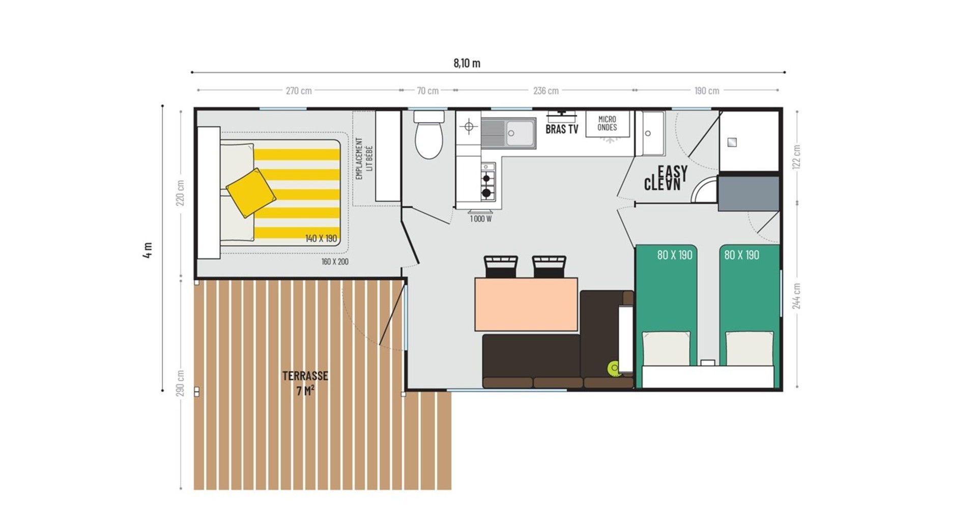 Camping La Vie : Plan Loggia 2chambres